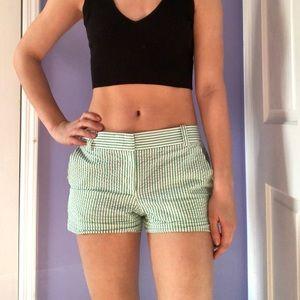 J. Crew green and white striped chino shorts